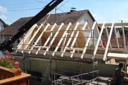 Pfettendach mit Auswechslung für Dachliegefenster